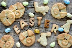 Easter cookies for kids stock photo