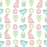 Easter cookies pattern - bunny, flowers, hearts easter eggs on white background. Stock Photography