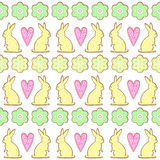 Easter cookies pattern, card - Easter bunny, flowers, hearts. Royalty Free Stock Image