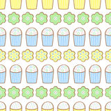 Easter cookies pattern, card - Easter cake and flowers. Royalty Free Stock Photos