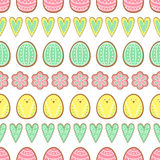 Easter cookies pattern, card - Easter eggs, hearts and flowers. Cute vector seamless background. Royalty Free Stock Image