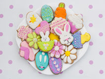 Easter cookies on plate Royalty Free Stock Images