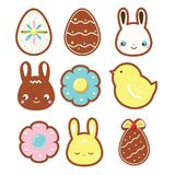 Easter cookies. Seasonal spring bakery. Decorated gingerbreads. Vector icons set. Bunny, rabbit, eggs, chicken vector illustration