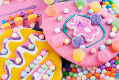 Easter Cookie. S in springtime colors. Lots of hard candies, gum drops for decoration Stock Photography