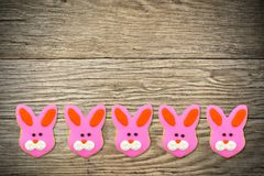 Easter cookies on wood background Stock Photos