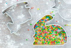 Easter cooking concept: metal molds rabbit bunny for traditional Royalty Free Stock Photography