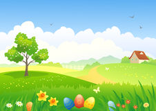 Easter countryside. Illustration of an Easter countryside Stock Photo