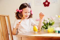 Easter craft with kids - painting eggs at home Royalty Free Stock Photo