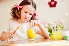 Easter craft with kids - painting eggs at home Stock Photography