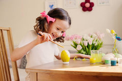 Easter craft with kids - painting eggs at home. Seasonal spring decorations Stock Photography