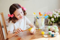 Easter craft with kids - painting eggs at home Stock Image