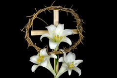 Easter cross and lilies Stock Image