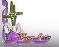Easter cross border palms  Royalty Free Stock Photo