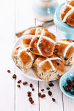 Easter cross-buns on a white wooden background Royalty Free Stock Images