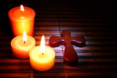 Easter, Cross and candles stock image