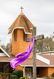 Easter Cross and Church Stock Photography