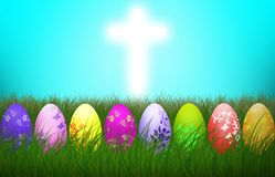 Easter Cross Colorful eggs Religion background holiday royalty free illustration