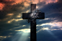 Easter cross crown and thorns  Stock Photo