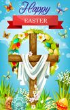 Easter cross with eggs, lily flowers and shroud. Easter cross with shroud, floral wreath of eggs and spring flowers vector greeting card. Christian religion stock illustration