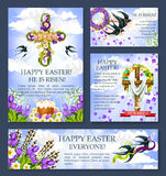 Easter cross with flower banner or poster template Royalty Free Stock Photography