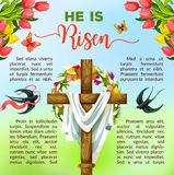 Easter cross with flower and bird poster template Royalty Free Stock Image