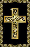 Easter cross golden card Royalty Free Stock Image