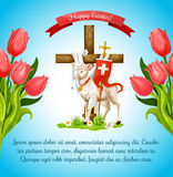 Easter cross with lamb and flower poster template Stock Photos