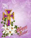 Easter Cross and Lilies. Image and 3D illustration composition of Gold Christian cross, Madonna Lilies and ivy for Religious Easter background, border or frame Royalty Free Stock Photo
