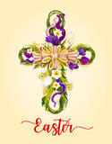 Easter cross made up of flowers greeting card design Stock Photography