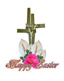 Easter Cross Palm leaves and nails Stock Photo