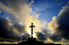 Easter Cross. Sunset at Mt. Soledad in La Jolla, California, Easter 2013 stock image