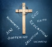 Easter cross and words on blackboard abstract religion concept. On dark background Stock Photography