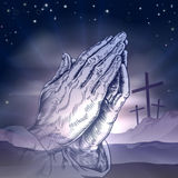 Easter Crosses and Praying Hands Stock Photography