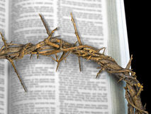 Easter crown of thorns on Bible Stock Photos