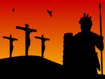 Easter - Crucifixion of Christ. Good Friday: a roman centurion by the three crosses on the hill of Calvary. This illustration recalls also the Gospel of Mark 15 Royalty Free Stock Photos