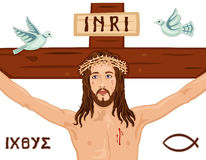 Easter Crucifixion on the Cross. Religious Easter card with Jesus crucifixion on the Cross. Includes the Greek symbols, the fish and the dove. Isolated over Stock Images