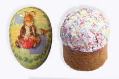 Easter cupcake and egg Stock Images