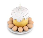 Easter cupcake with eggs on a white background. 3d rendering Royalty Free Stock Images