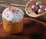 Easter cupcake homemade. On an old wooden background Royalty Free Stock Photo