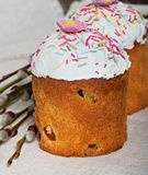 Easter cupcake homemade. On an old wooden background Royalty Free Stock Image