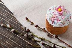 Easter cupcake homemade. On an old wooden background Royalty Free Stock Photography