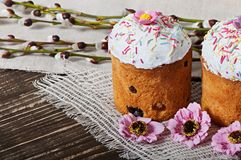 Easter cupcake homemade. On an old wooden background Royalty Free Stock Photos
