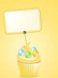 Easter cupcake and label Royalty Free Stock Image