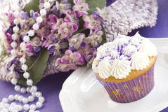 Easter Cupcake with Purple Decorations Stock Photography
