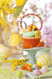 Easter cupcake. On a stand royalty free stock photos