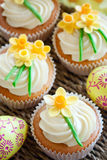Easter cupcakes. Cupcakes decorated with sugar daffodils Royalty Free Stock Images
