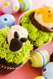 Easter cupcakes. Gourmet chocolate Easter cupcakes individually decorated stock images