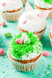 Funny easter cupcakes stock photography