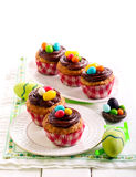Easter cupcakes with chocolate Stock Photos