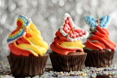 Easter chocolate cupcakes royalty free stock images